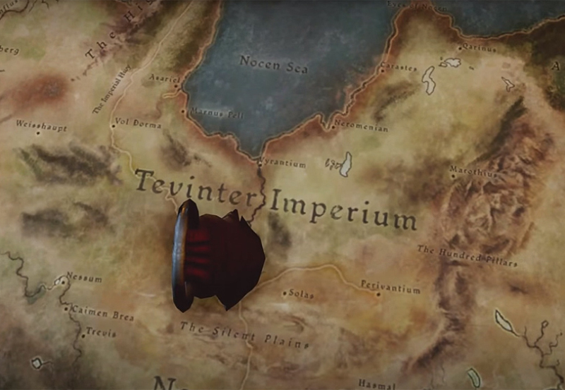 A map of the Tevinter Imperium with a knife sticking out of it. Dragon Age Inquisition, BioWare, EA, 2014.