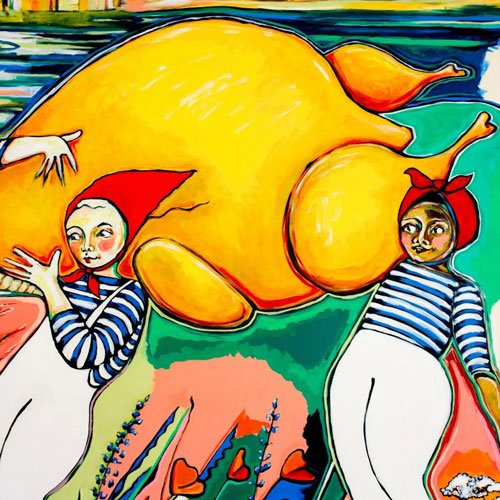 Mural detail two women carrying chicken.