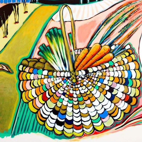 Mural detail basket with vegetables.