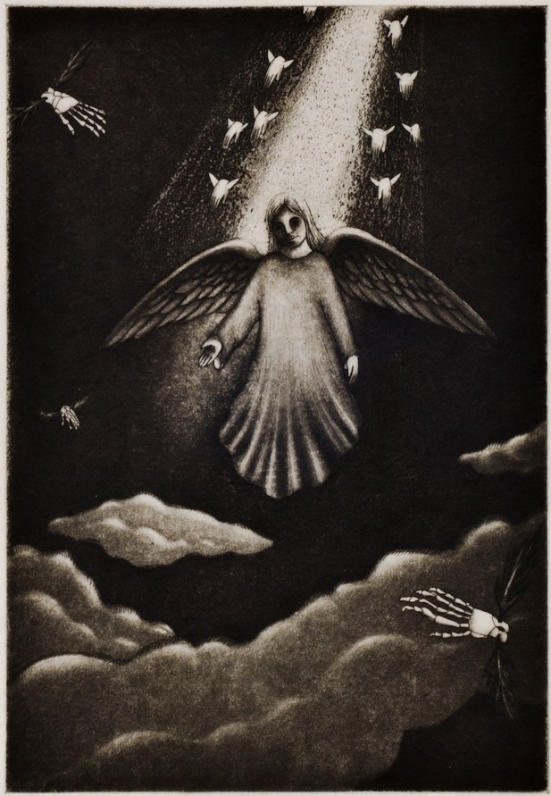 "Teresa James ""Faust"" etching w/aquatint paper size: 12"" x 9 1/2"" image size: 6 3/4"" x 5 1/4"" $400 unframed (edition of 13)"