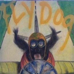 """Cesare """"Nono"""" Conde """"Fly Dog"""" 24""""x24"""" Oil on Canvas $875"""