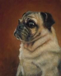 """Teresa Elliott """"Pug Nation"""" Oil on Linen 10"""" x 8"""" $1600 framed"""