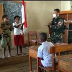 Peduli Terhadap Bahaya Penularan Covid-19, Satgas TNI Lakukan Sosialisasi Di Sekolah