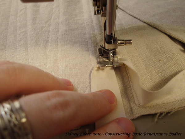How to Edge Around Tabs, corset making tutorial by Sidney Eileen