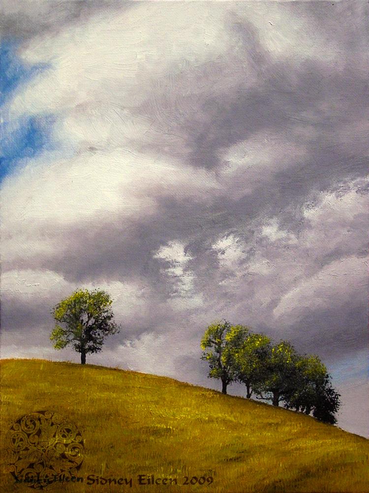 Title: Cloudy Hill, Artist: Sidney Eileen, Medium: oils on canvas board
