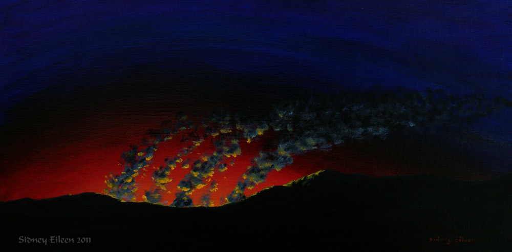 Title: Distant Fire, Artist: Sidney Eileen, Medium: oils on canvas board