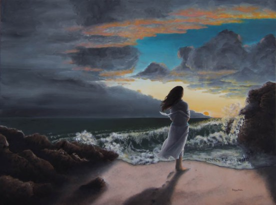 Title: On the Northern Coast, Artist: Sidney Eileen, Medium: oils on gesso board