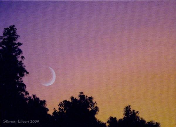 Title: Moonset 1, Artist: Sidney Eileen, Medium: oils on canvas board
