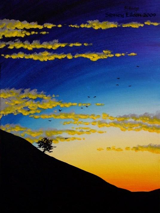 Title: Sunset 1, Artist: Sidney Eileen, Medium: oils on canvas board