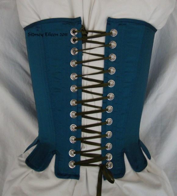 Blue Taffeta Silk Stays with Busk Pocket - Back View, by Sidney Eileen