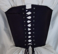 Non-Tabbed Black Satin Conical Corset - Back View, by Sidney Eileen