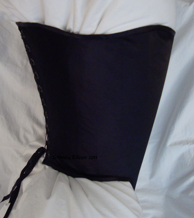 Non-Tabbed Black Satin Conical Corset - Side View, by Sidney Eileen