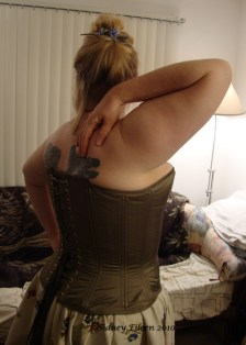 Drab Green Silk Overbust Corset - Quarter Back View Right, by Sidney Eileen