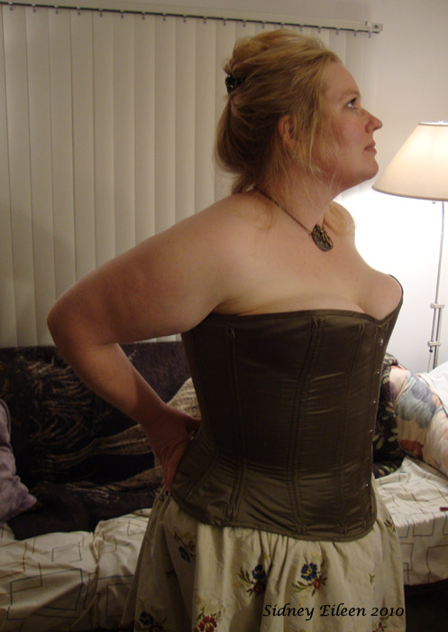 Drab Green Silk Overbust Corset - Quarter Front View, by Sidney Eileen
