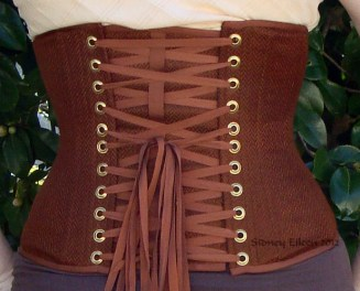 Brown Herringbone Underbust - Back View, by Sidney Eileen