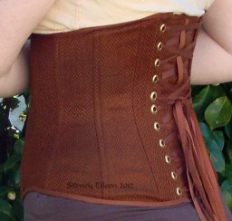 Brown Herringbone Underbust - Quarter Back View, by Sidney Eileen