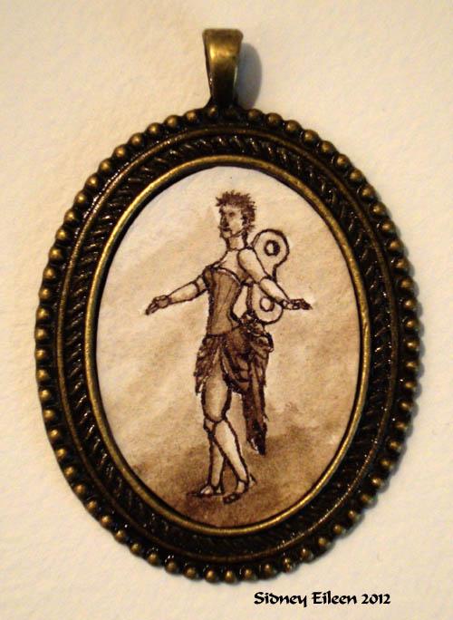 Brown Clockwork Doll in Large Brass Pendant, by Sidney Eileen, Medium: ink on watercolor paper