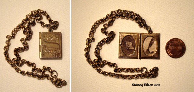 Brown Paper and Feather Pen in Book Locket, by Sidney Eileen, Medium: ink on watercolor paper