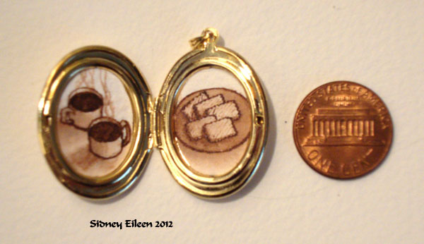 Coffee and Biscuits in Oval Locket, by Sidney Eileen