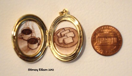 Coffee and Biscuits in Oval Locket, by Sidney Eileen, Medium: ink on watercolor paper