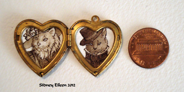 Mr. and Mrs. Cats in Heart Locket, by Sidney Eileen, Medium: ink on watercolor paper
