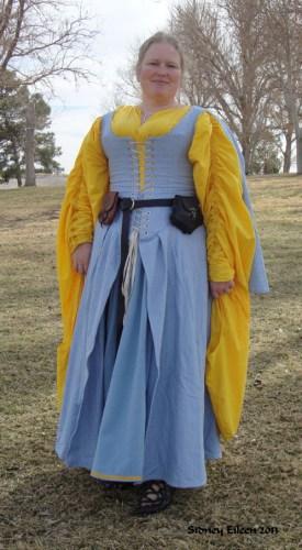 Blue Herringbone Irish Dress - Front View, by Sidney Eileen