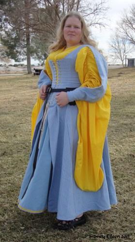 Blue Herringbone Irish Dress - Quarter Front View, by Sidney Eileen