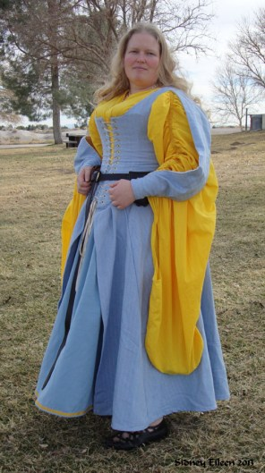 Blue Herringbone Irish Dress - Quarter Front View, by Sidney Eileen