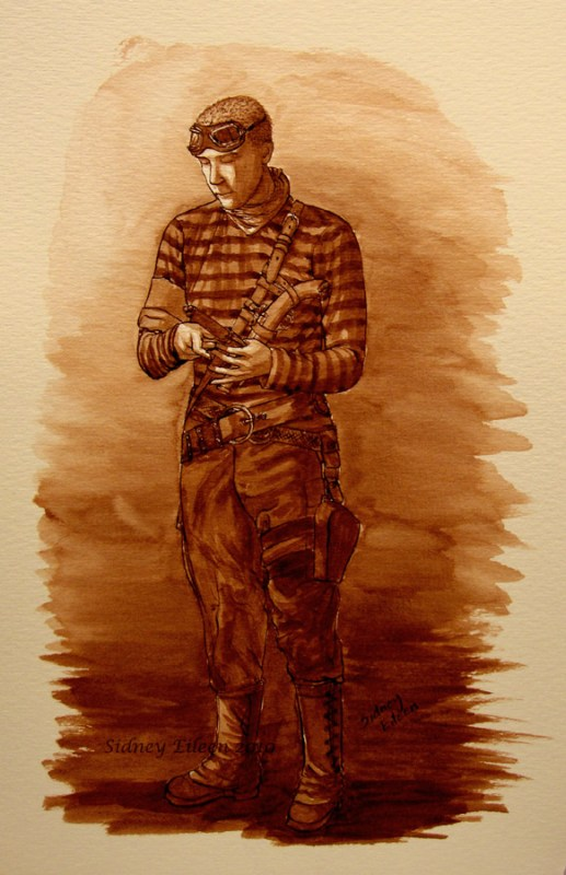Title: Dan Cederman - Abney Park, Artist: Sidney Eileen, Medium: ink on watercolor paper