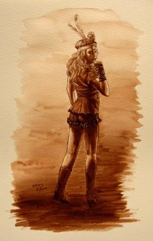 Title: Jody Ellen - Abney Park, Artist: Sidney Eileen, Medium: ink on watercolor paper