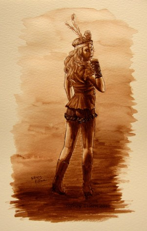 Title: Jody Ellen - Abney Park, Artist: Sidney Eileen, Medium: ink on watercolor paper
