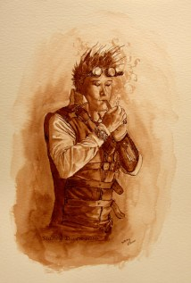 Title: Captain Robert - Abney Park, Artist: Sidney Eileen, Medium: ink on watercolor paper