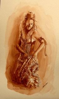 Title: Kristina - Abney Park, Artist: Sidney Eileen, Medium: ink on watercolor paper