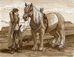Title: On The Trail, Artist: Sidney Eileen, Medium: ink on watercolor paper