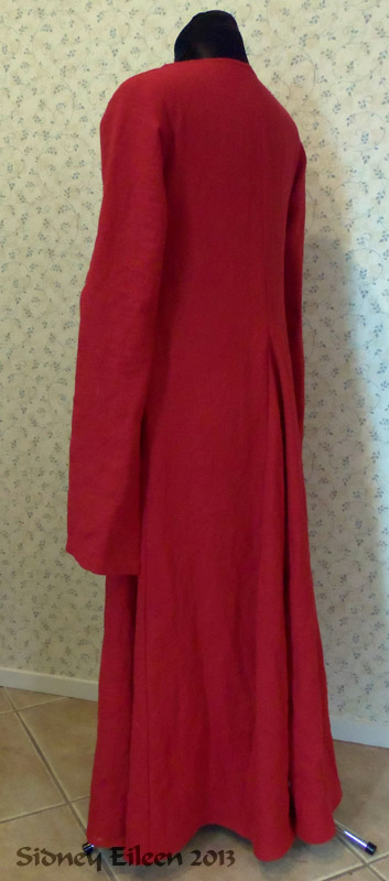 Red Linen Front Lace Kirtle with Dangle Sleeves - Quarter Back View