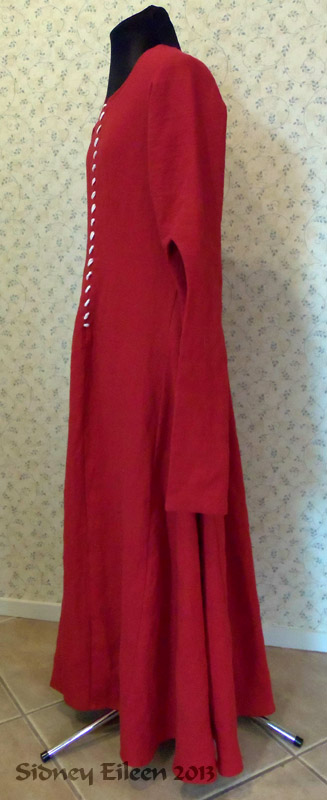 Red Linen Front Lace Kirtle with Dangle Sleeves - Side View