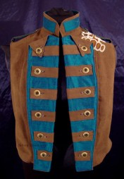 Colorful Violin Vest Final - Brown Side - Open, Buttoned Neat, and Dogeared