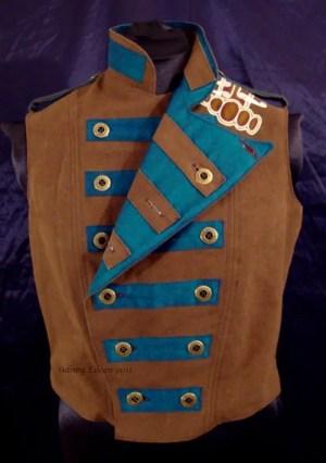 Colorful Violin Vest Final - Brown Side - One Side Folded