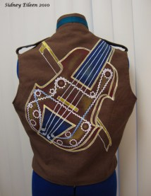 Colorful Violin Vest Prototype - Brown Side - Back Detail