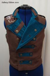 Colorful Violin Vest Prototype - Brown Side - Front Folded Open