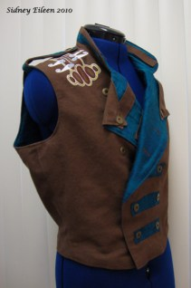 Colorful Violin Vest Prototype - Brown Side - Quarter Front, Folded Open