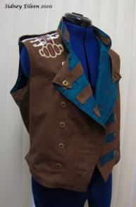 Colorful Violin Vest Prototype - Brown Side - Quarter Front Open