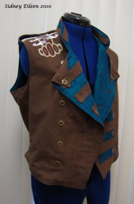 Colorful Violin Vest Prototype - Brown Side - Quarter Front Open