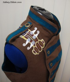 Colorful Violin Vest Prototype - Brown Side - Shoulder Detail