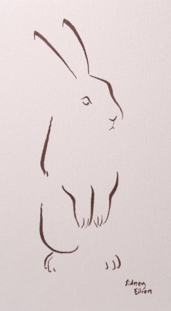 Title: Minimalist Bunny, Artist: Sidney Eileen, Medium: brush marker on paper