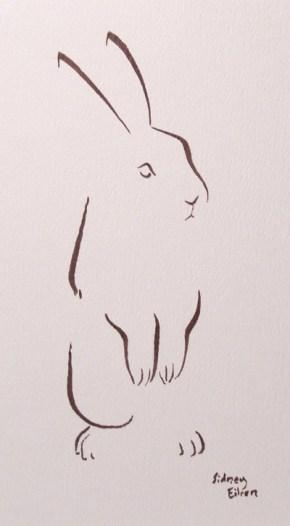 Title: Minimalist Bunny, Artist: Sidney Eileen, Medium: brush marker on paper