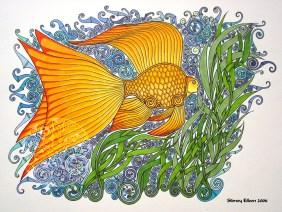 Title: Golden Flower, Artist: Sidney Eileen, Medium: pen and marker on paper