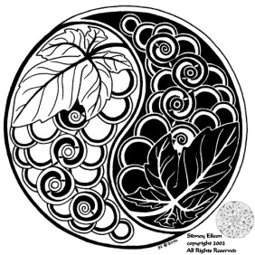 Title: Yin-Yang Grapes, Artist: Sidney Eileen, Medium: pen on paper