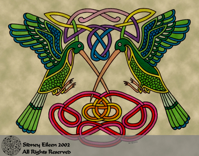 Title: Celtic Hummingbirds, Artist: Sidney Eileen, Medium: pen and marker on paper