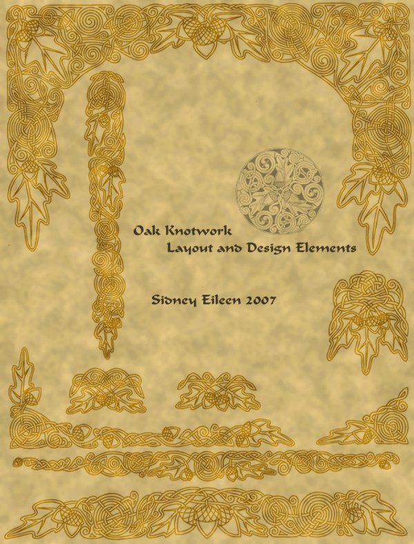 Title: Celtic Oak Layout Sheet, Artist: Sidney Eileen, Medium: pen on paper (texture in photoshop)